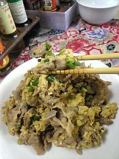 今日のお昼は...炒り玉焼肉(^0^)♪
